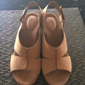 Clarks suede wedge shoes